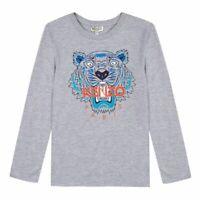 Kenzo Kids Grey Tiger Print LongSleeve T-Shirt KM10548