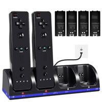 for Nintendo Wii Remote Controller 2/4 Rechargeable Batteries Pack+Charger Dock