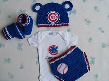Crochet Chicago Cubs Baby Hat,Diaper Cover, Booties and Personalized Bodysuit