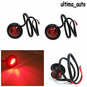 2X 12V OUTLINE ROUND SIDE MARKER 3 LED RED LIGHTS LAMPS FOR LORRY TRAILER TRUCK