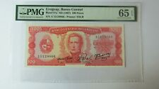 More details for pmg certified uruguay, banco central, nd 1967 100 pesos banknote. pmg 65epq.