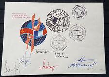 s2005) Raumfahrt Space Bordpost Sojus TM 7 / MIR 1989 Atteste 7 autographs