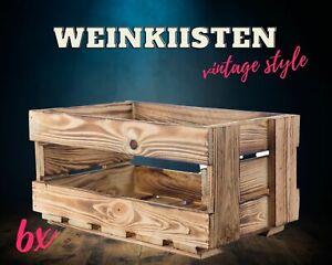 6x dekorative neue geflammte Weinkisten Obstkisten Apfelkisten Holzkisten DIY