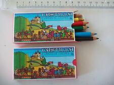 Castilla, 2 antiguas cajas de 6 lapices de colores. nº 501 Made in Spain.