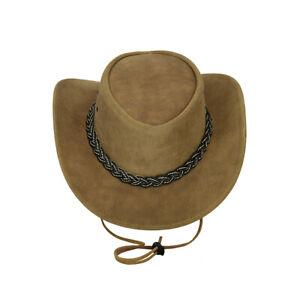 New Western Style Beige Brown Suede Bush Leather Cowboy HAT Wide Brim S to 2XL