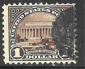 1v0424 Scott 571 US Stamp 1923 $1 Dollar Lincoln Memorial Used