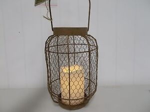 GER43022 EVERLASTING GLOW RUSTY WIRE RUSTIC LANTERN MINI LIGHTS CANDLE LED TIMER