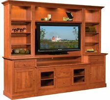 Amish Arts & Crafts Solid Wood Entertainment Center Wall Unit Clark