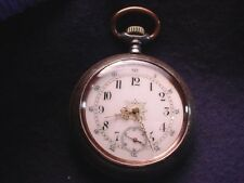 Swiss Gun Metal With Rose Gold Initials On Case 16 Size Pocket Watch! #2075