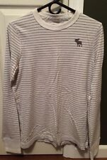 Abercrombie & Fitch A&F Long Sleeve Striped Gray Muscle Shirt Men's Medium Moose