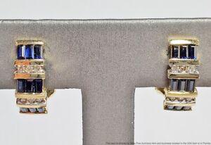 Natural Blue Sapphire Genuine Diamond 14k Solid Yellow Gold J Hoop Omega Back