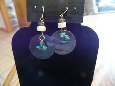 Chico's Gold with Beads & Disks Dangle Pierced Earring NWT