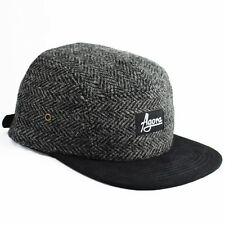 Agora Harris Tweed Herringbone 5 Panel Camp Cap wool hat NEW