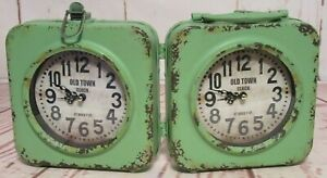 Old Town Clock 67 BAILEY ST Rustic Shabby Green 2-Sided Clock Distressed
