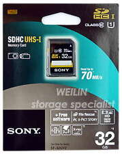 SONY SDHC UHS-I 32GB SD Memory Card Class 10 70MB/s FULL HD Video 3D 32G