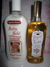 Agustin Reyes Royal Violets Baby Cologne 7.6 oz & Lotion 12 oz SET (LOT) NEW