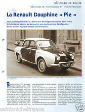 """Renault Dauphine """"Pie"""" Police Nationale PP Administration France FICHE POLICE"""