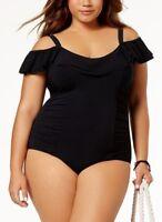Profile Gottex Plus Size 22W Off Shoulder Contol One Piece Swimsuit Blk NWT $168