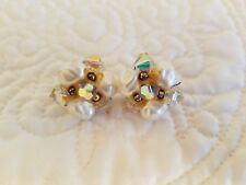 Women's Vintage Clip On Clear and White Bead Cluster Earrings