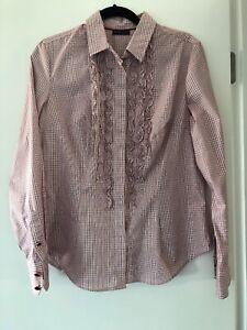New York & Company Stretch Pink Striped Button Down Shirt Size L
