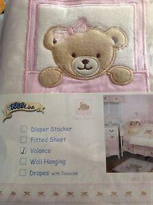 NEW KIDSLINE WINDOW VALANCE  Pink  Bow Bear Kidsline Baby Nursery gingham