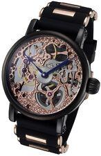 Rougois Rose Gold Tone Mechanical Skeleton Watch - Silicone Band