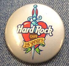 Hard Rock Cafe ~ 25 Years Heart Dagger Pin Back Button [H]