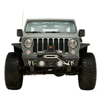 Rock Crawler Front Bumper Stubby with Winch Plate Fit for 18-20 Jeep JL Wrangler