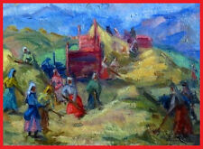 1957 Socialist Realism Painting COLLECTIVE FARM WOMEN Russian ARMENIAN- Elena A.