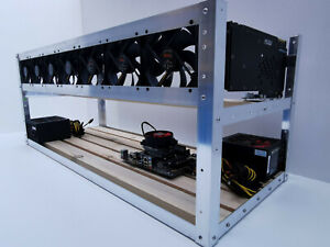 Mining Rig 13 GPU Alu Mining Frame Open Case  Gehäuse 120mm Lüftervorbereitung