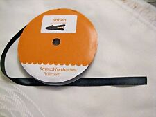 """NEW"" Spool Black Satin Ribbon, 3/8"" (9mm) x 3 yds (9 ft) Crafts/Weddings"
