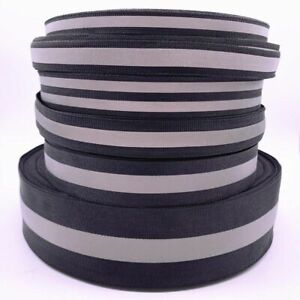 Black Safety Silver Reflective Sew On Fabric Tape Strap For Clothes Vest Webbing