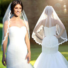 New White Wedding Veil Cathedral Applique Edge Lace Bridal With Comb