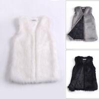 Women's Faux Fur Sleeveless Slim Vest Winter Waistcoat Gilet Jacket Coat Outwear