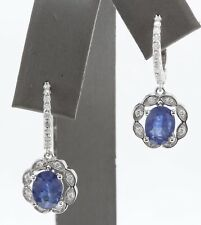 3.60 Carat Natural Blue Sapphire & Diamond 14K Solid White Gold Earrings