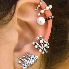 9PCs/Set Geometry Punk Pearl Crown Earrings Set Rhinestone Clip Ear Stud