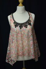 Ladies Floral Sheer River Island Summer Top Black Lace Detailing - Size 8
