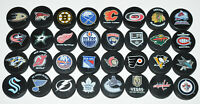"HOCKEY PUCKS ALL 32 NHL TEAMS Complete Set ""Basic"" Logo Puck Lot SEATTLE KRAKEN"