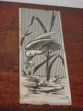UNUSUAL MINTON TWO TILE PANEL OF WATERBIRD WITH FISH ON REED WITH LILY PADS
