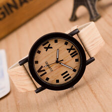 Womens Watch Roman Numerals Wood Leather Band Analog Quartz Vogue Wrist Watches