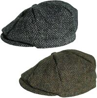 Mens Harris Tweed Bakerboy Cap Peaky Blinders Style Cap Newsboy Gatsby Hat