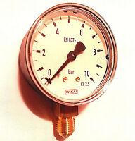 """Manometer 1/4"""" Anschluss unten radial Wika 10bar Wasser Luft ohne Versandkosten"""