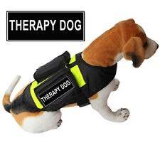 THERAPY DOG SERVICE DOG Vest Harness w/ POCKETS & Side Bags free label Patches