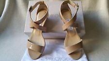 New Jimmy Choo Chiara 36.5 Nude Patent leather Cross Strappy Wedge Sandal heel