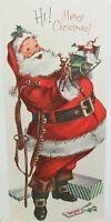 Gibson Santa w/ Silver Glitter Christmas Jewels Used Card, 1963 Postmark