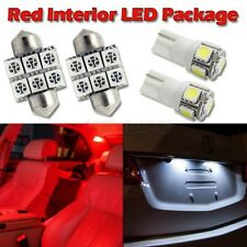 """6 Red Led Interior Lights Package For Map T10+ Dome 1.25""""+ License Plate Lamp"""