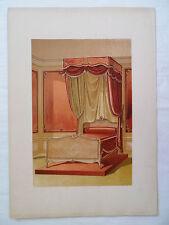 ANCIENNE CHROMO 1880 / TENTURE DE LIT / STYLE LOUIS XV / PL10