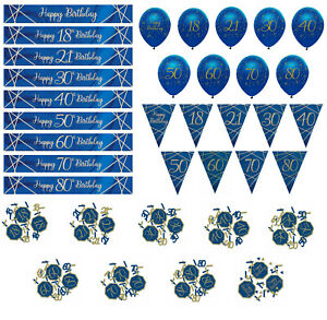 AGE 16 18 21 30 40 50 60 65 70 80 BLUE & GOLD BANNER BUNTING BALLOONS CONFETTI