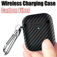 Black Carbon Fiber Soft Case For AirPods 2nd Generation 2019 Wireless CharginKTP