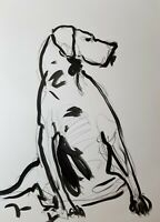 """JOSE TRUJILLO - Acrylic Painting Abstract 18x24"""" Dog Sitting Expression Figure"""